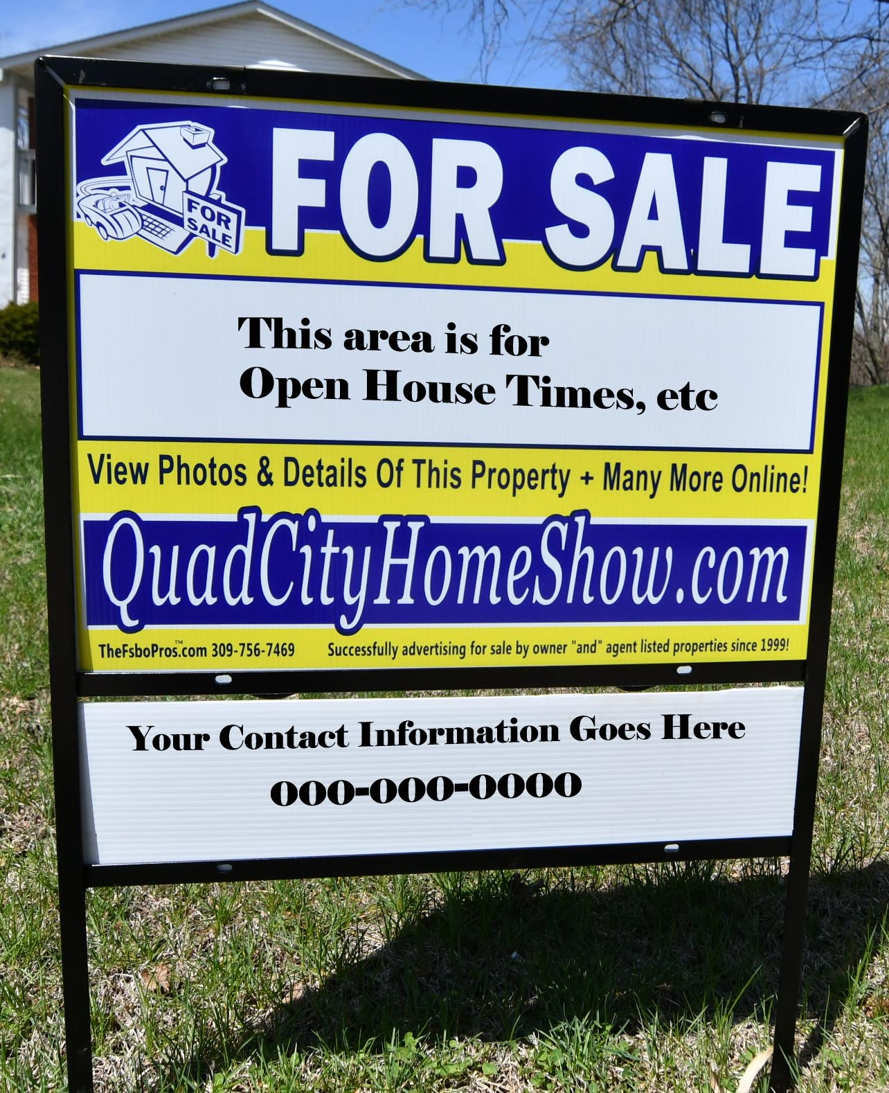 For By Owner Steel Framed Yard Signs Arrow Directional